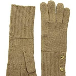 NWT! Michael Kors Ribbed-Cuff Knit Gloves Camel